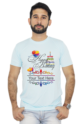 Customized Happy Birthday Dri fit Sky Blue T-shirt