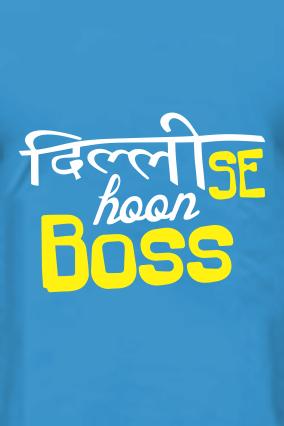 Delhi Se Hoon Blue Round Neck Cotton T-Shirt