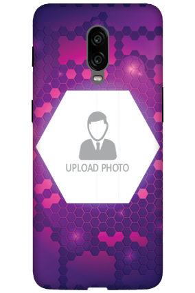 3D-Oneplus 6T Purple Hexagonal Customized Mobile Cover