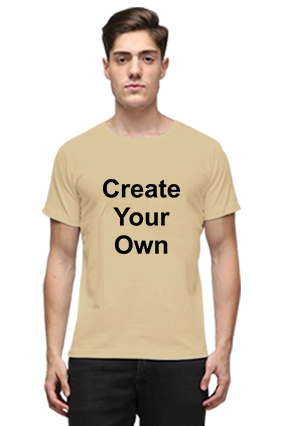 Create Your Own Beige Round Neck Cotton T-Shirt