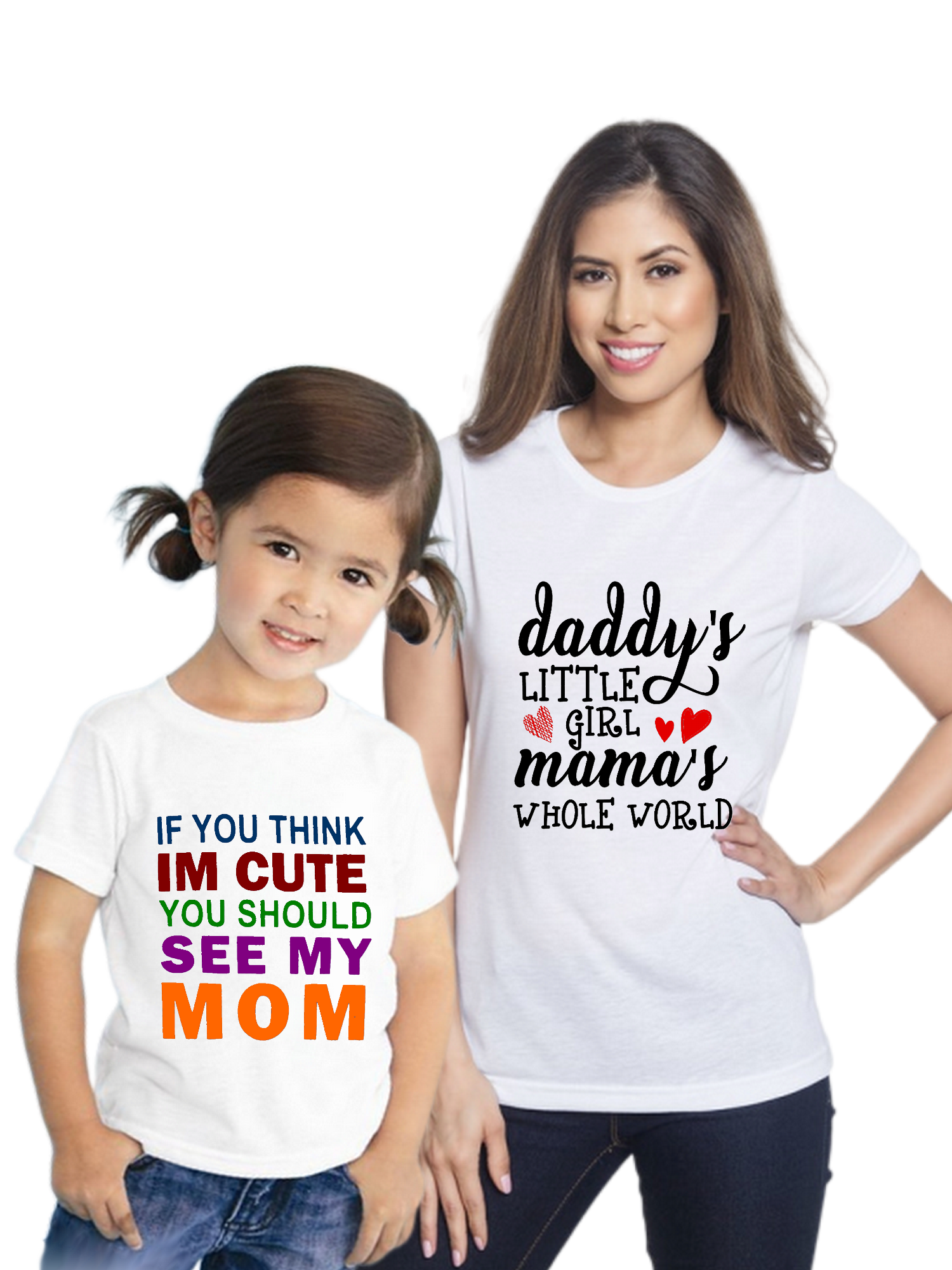 Cute Mom And Daughter Family Combo Half Sleeve T-Shirt