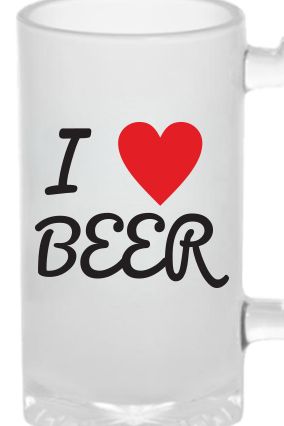 I Love Frosted Beer Mug