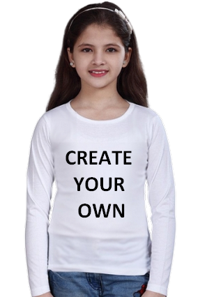 Create Your Own White Round Neck Cotton Full Sleeve Kids T-Shirt