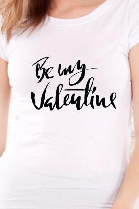 Be My Valentine Day Girls White T-Shirt