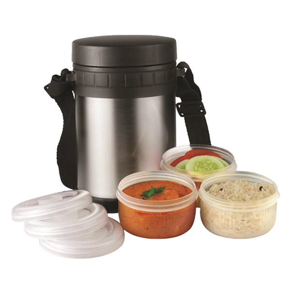 Lunch Box Black With Silver-GM-334