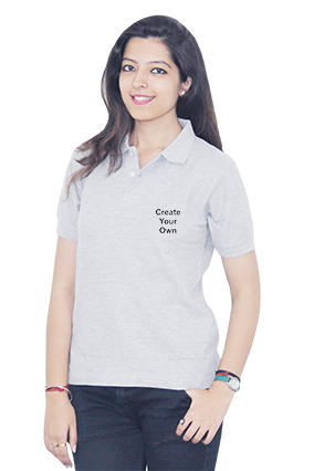 Create Your Own Gray Cotton Girl Polo T-Shirt
