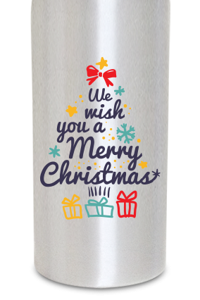 Christmas Fever 600ml Silver Sipper