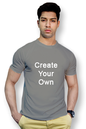 110GSM - Create Your Own Gray Round-Neck Dry-Fit T-Shirt
