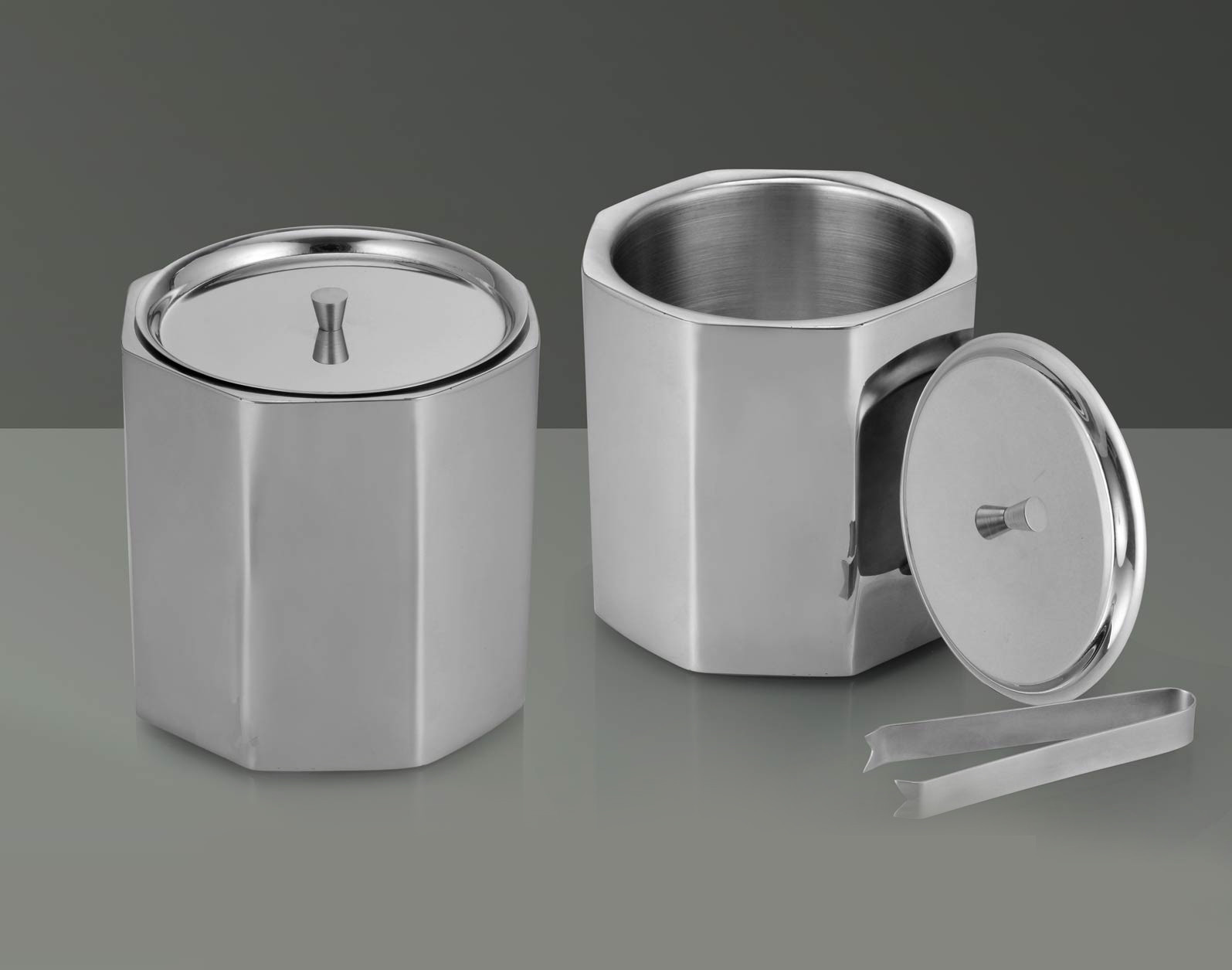 Designer Octa Ss Ice Bucket With Tongs H125