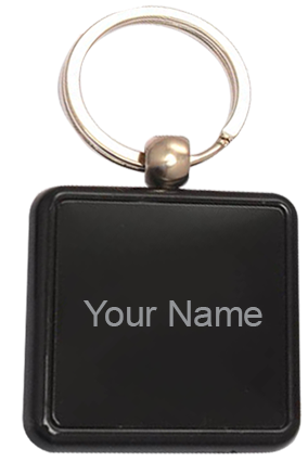 Square Metal Plate Keychain - J109