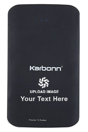 Create Your Own 10000mAh Karbonn Polymer 10 Rubber Power Bank (Black)