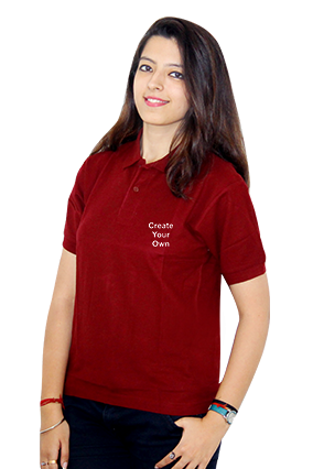Create Your Own Mahroon Cotton Girl Polo T-Shirt