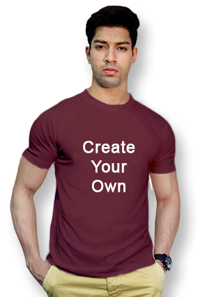 110GSM - Create Your Own Maroon Round-Neck Dry-Fit T-Shirt