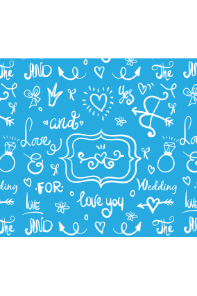 Blue Colored Wedding Wrapping Paper