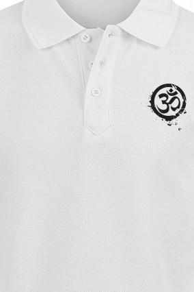 Om White Cotton Polo T-Shirt