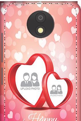 3D - Motorola Moto C Plus Floral Hearts Anniversary Mobile Cover