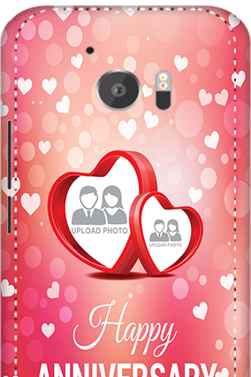 3D - HTC M10 Floral Hearts Anniversary Mobile Cover