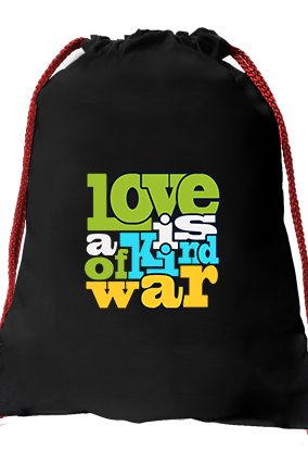 Love & War Black Gym Sack Bag