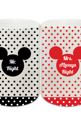 Dotted Mickey Couple Coffee Mugs