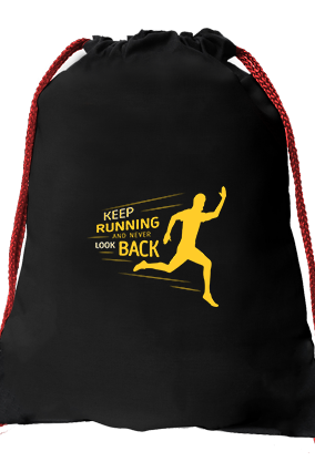Keep Going Black Gym Sack Bag