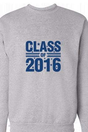 Class 2016 Blue Print Gray Sweatshirt