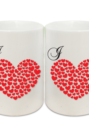 Heart of Roses Couple Coffee Mugs