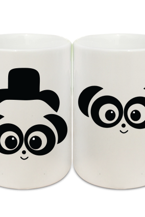 Panda Eyes Couple Coffee Mugs