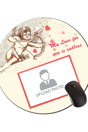 Cupid Strikes Valentine Day Round Mouse Pad