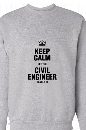 Civil Engineer Black Print Gray Sweatshirt