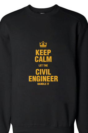 Civil Engineer Yellow  Print Black Warm Sweatshirt