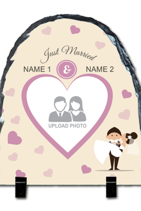 Just Married Up Round Photo Rock