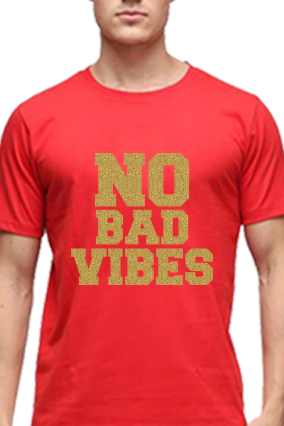 No Bad Vibes Golden Glitter Red Round Neck Cotton Effit T-Shirt