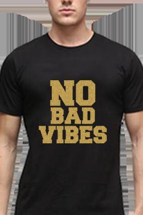 No Bad Vibes Golden Glitter Black Round Neck Cotton Effit T-Shirt