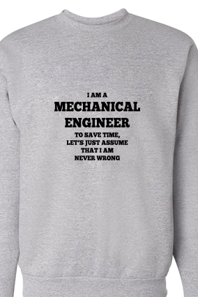 Stylish Engineer Black Print Gray Sweatshirt