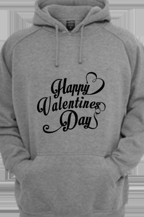 Cool Valentine's Day Black Print Gray Hoodie