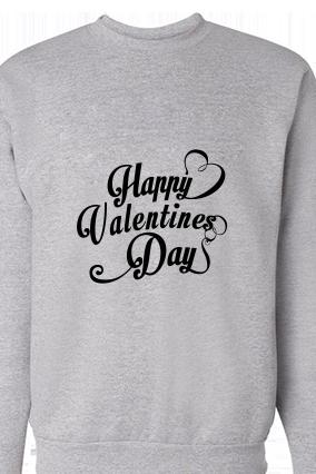 Cool Valentine's Day Black Print Gray Sweatshirt