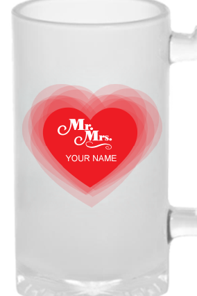 Mrs & Mr Frosted Beer Mug