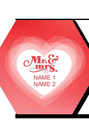 Mrs & Mr Hexa Coaster Printing
