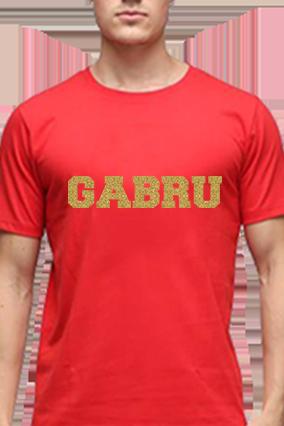 Gabru Golden Glitter Red Round Neck Cotton Effit T-Shirt