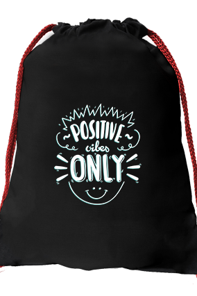 Be Positive Black Gym Sack Bag