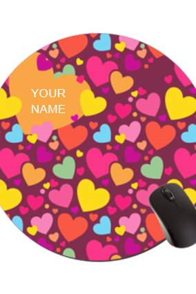 Little Hearts Round Mouse Pad