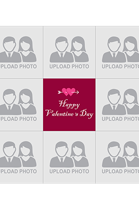 Personalized Multi Photos Valentines Day Square Canvas Print