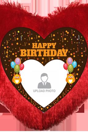 Birthday Wishes Heart Fur Cushion