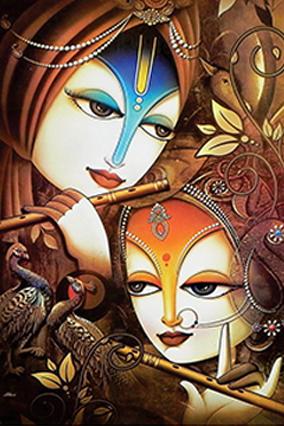 Artistic Radha Krishna Wedding Invitation Card