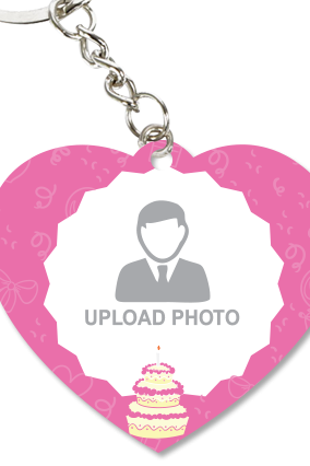 Pink Colored Heart Key Chain