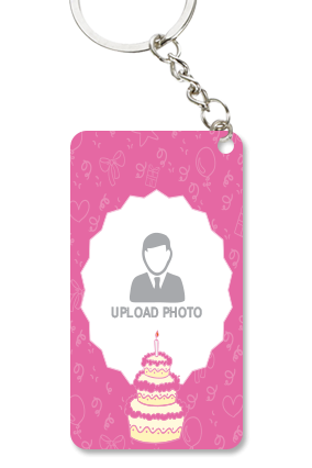 Pink Colored Small Rectangle Key Chain