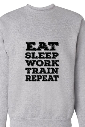 Eat Sleep And Work Black Print Gray Personalized Sweatshirt