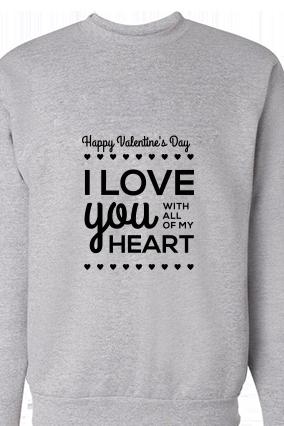 Heart Valentine's Day Black Print Gray Sweatshirt