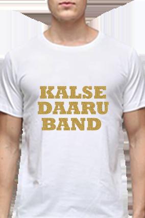 Cool Golden Glitter White Round Neck Cotton Effit T-Shirt