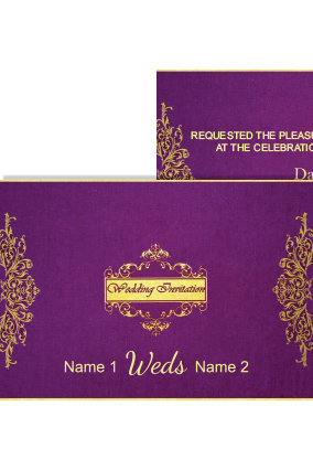 Purple Color Wedding Invitation Card